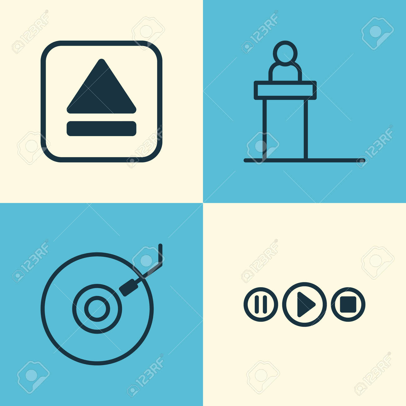 Music icons set collection of song ui rostrum gramophone and collection of song ui rostrum gramophone and other elements stock buycottarizona