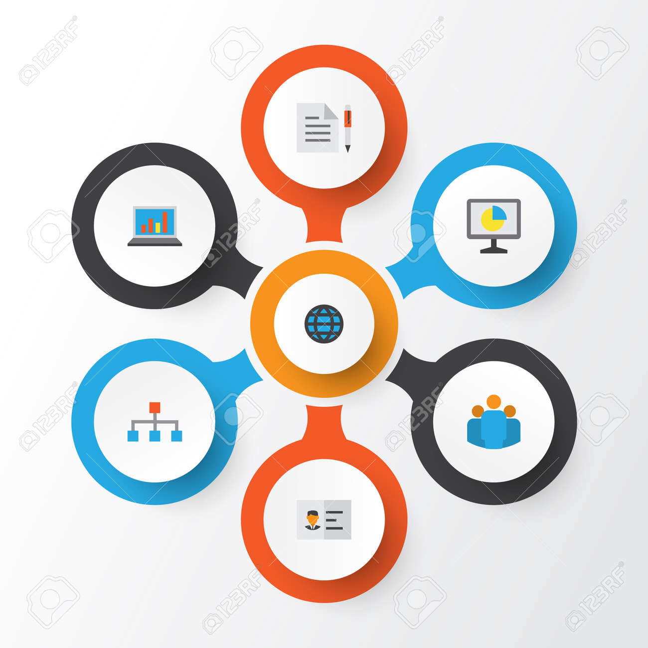 Job flat icons set collection of statistics hierarchy diagram job flat icons set collection of statistics hierarchy diagram and other elements ccuart Image collections