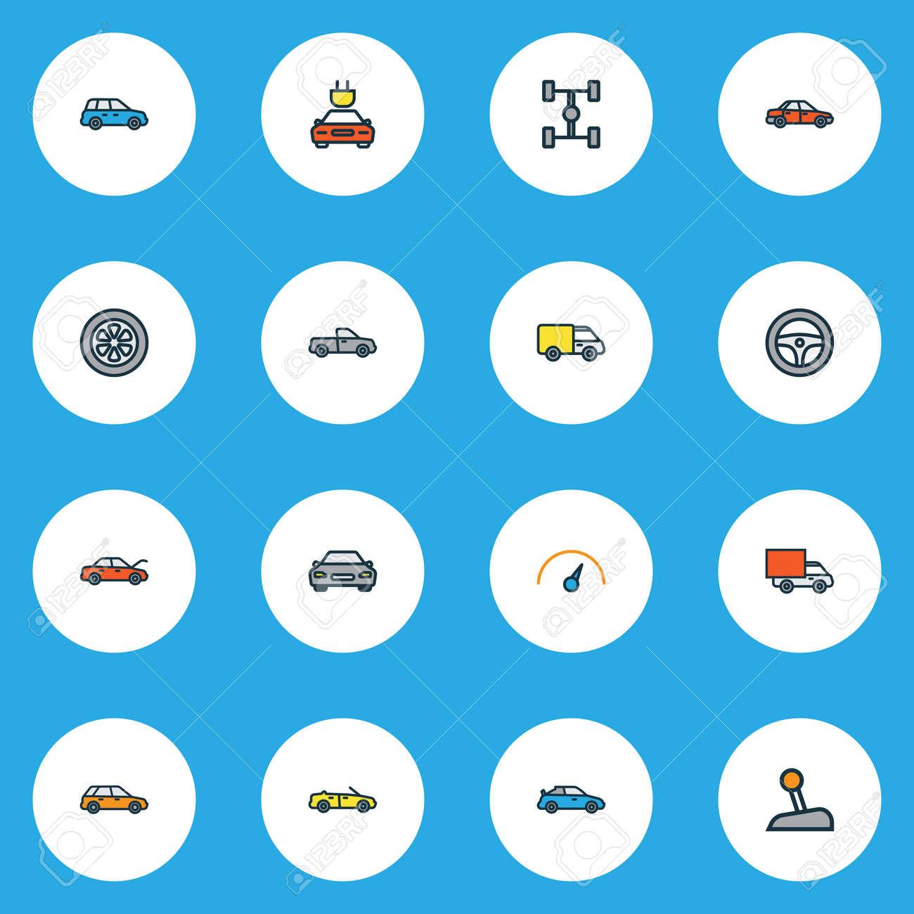 Auto Bunte Umriss Icons Set. Sammlung Von Limousine, Sport ...