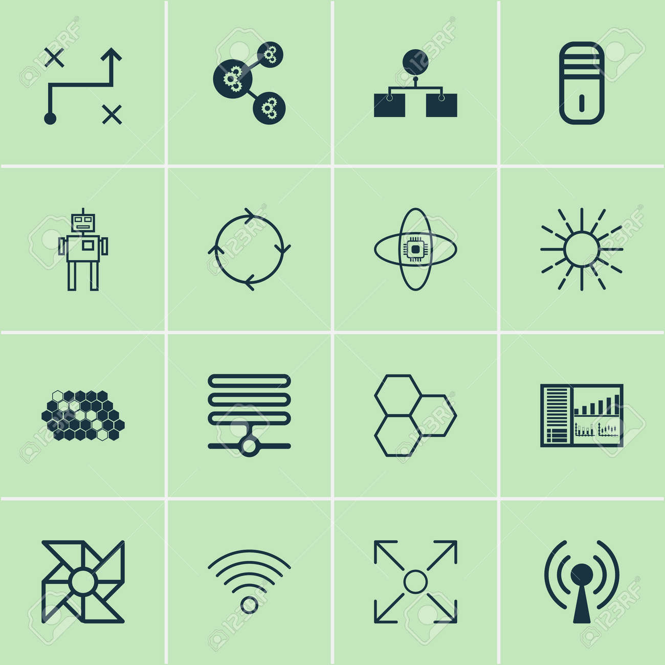 Learning icons set collection of analysis diagram recurring collection of analysis diagram recurring program mainframe and other elements ccuart Image collections