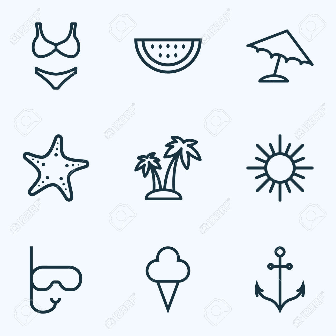 9b8b37c1bb4b Sun Outline Icons Set. Collection Of Armature