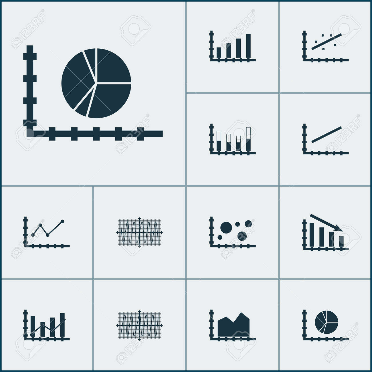Set Of Graphs Diagrams And Statistics Icons Premium Quality Collection Simple Circuit Diagram Symbols Pictures Symbol Can