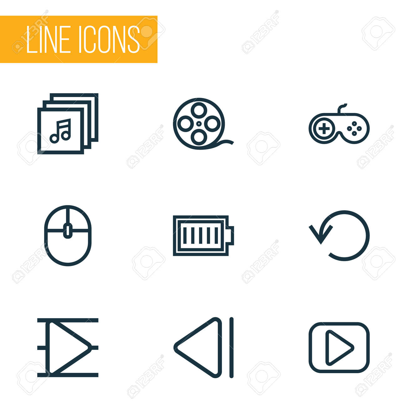 Music Outline Icons Set Collection Of Music Gamepad Song List