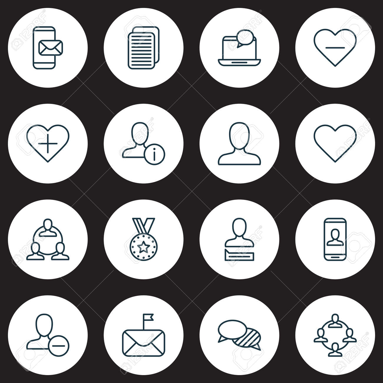 social icons set collection of personal data privacy information