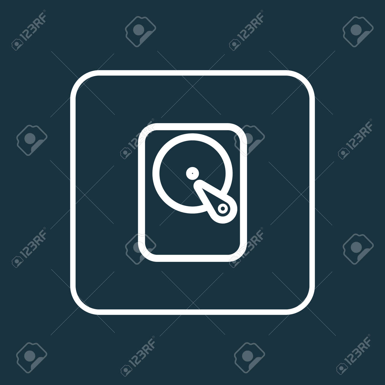 Winchester Outline Symbol Premium Quality Isolated Hard Disk