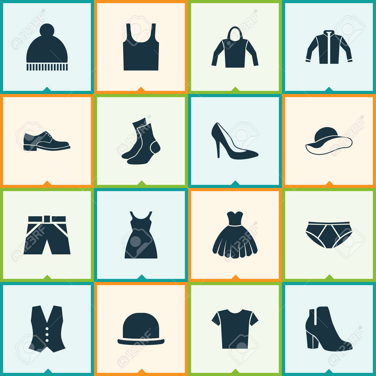 b51d59eddacf Clothes Icons Set. Collection Of Singlet