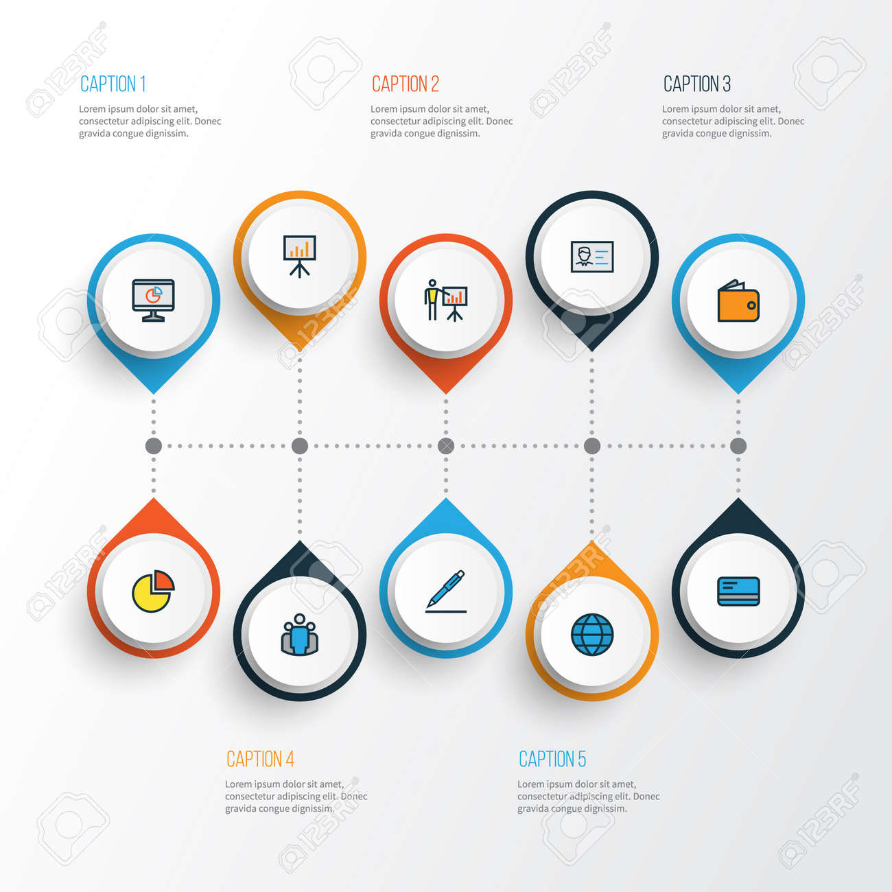 Job Colorful Outline Icons Set  Collection Of Pie Chart, Billboard