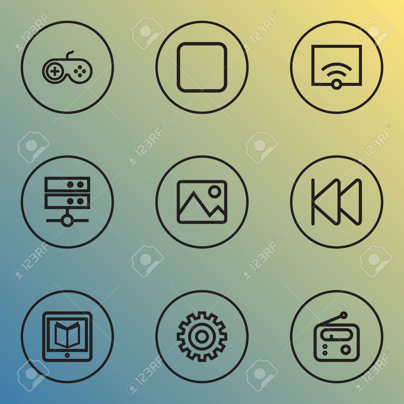Music Outline Icons Set. Collection Of Rewind, Gamepad, Picture And Other Elements. Also Includes Symbols Such As Signal, Tuner, Picture. Stock Photo - 86538819