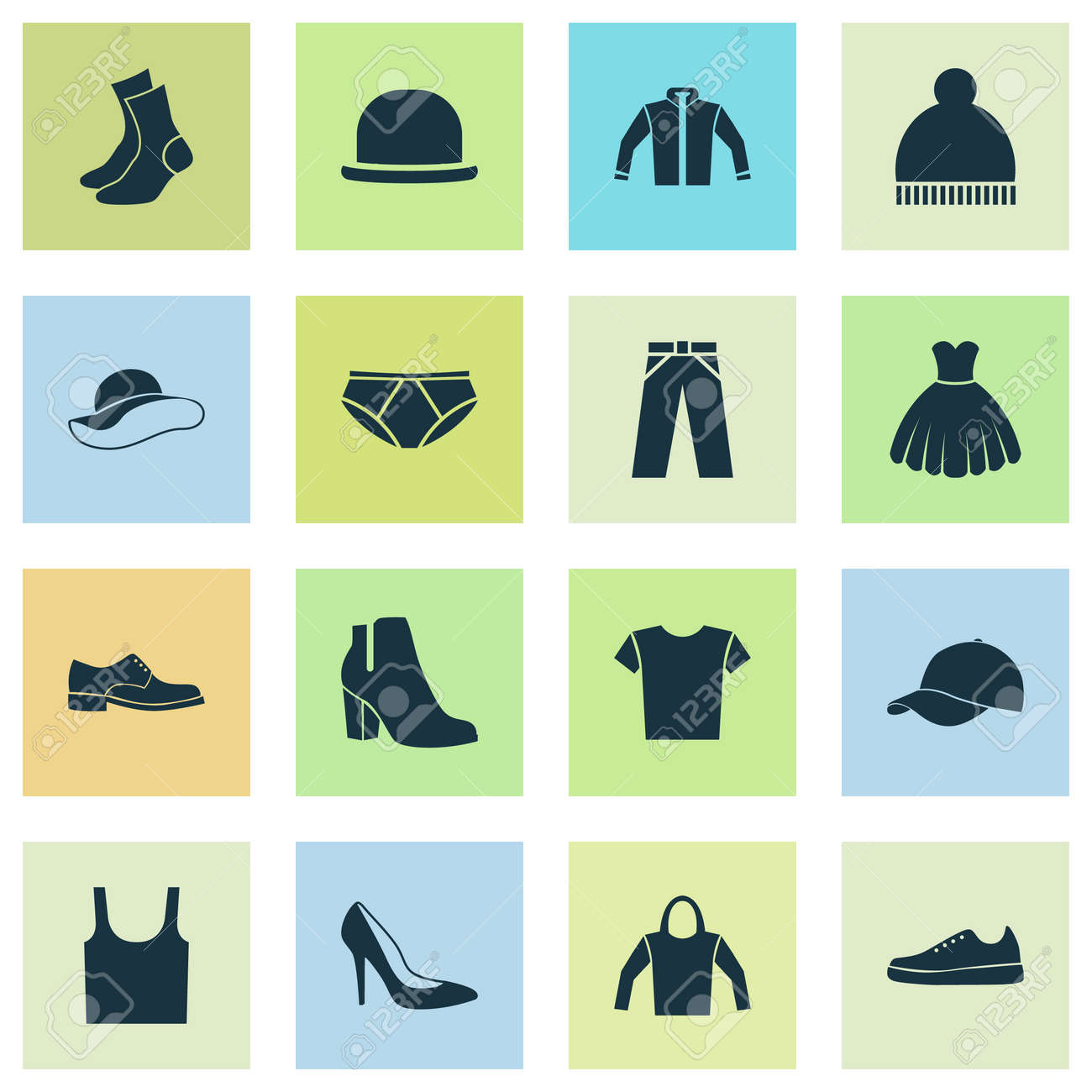 fcc3383d Clothes Icons Set. Collection Of Cardigan, Trilby, Casual And Other  Elements. Also