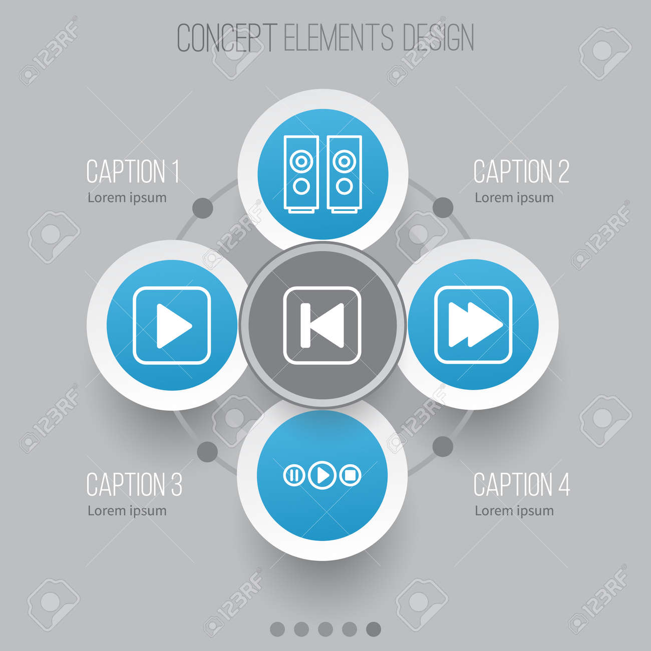 Audio Icons Set  Collection Of Start Song, Sound Box, Song UI