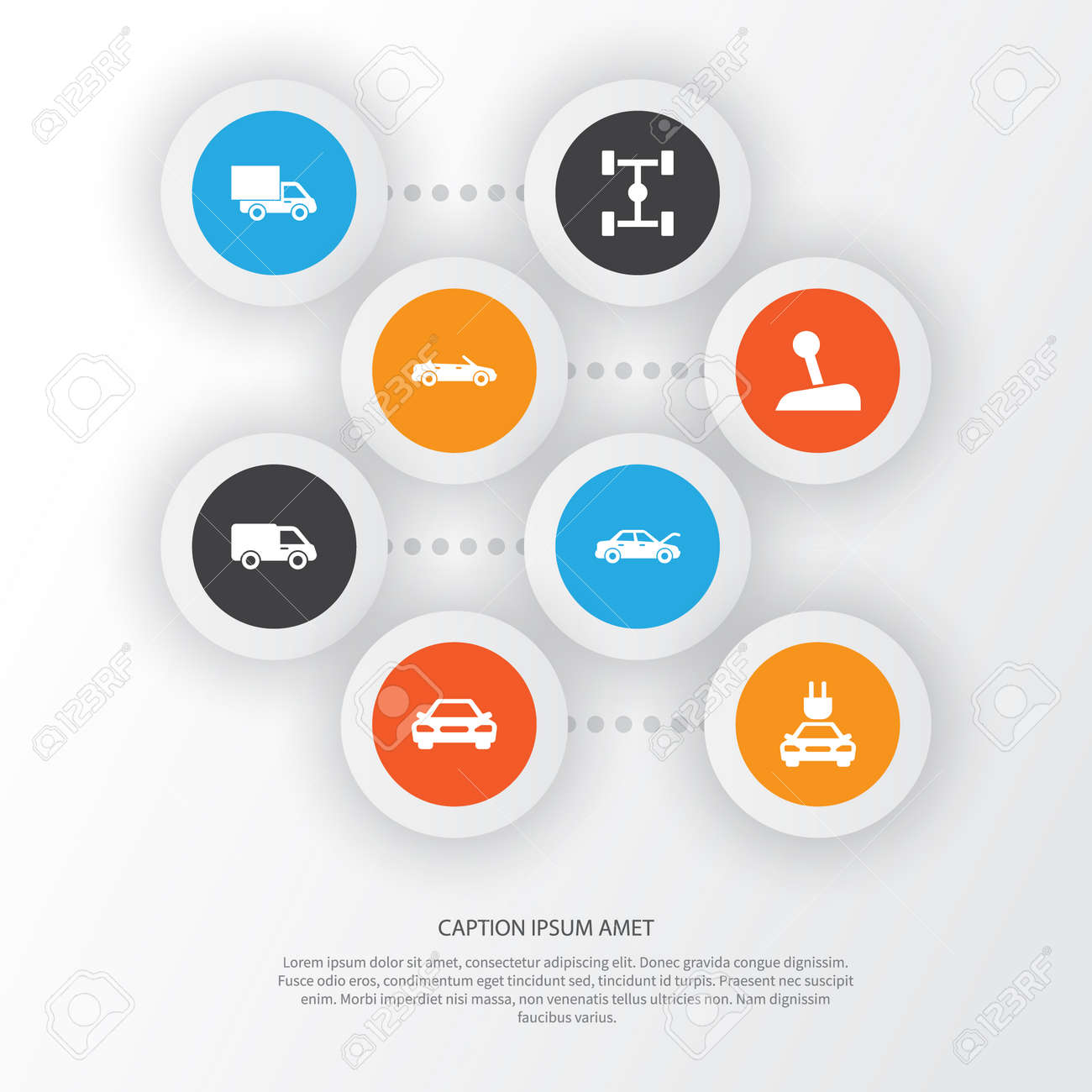car icons set  collection of stick, wheelbase, lorry and other elements   also