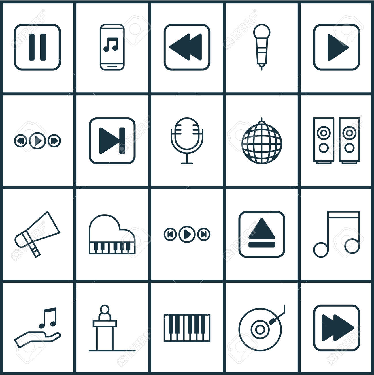 Music icons set  Collection of mute song, audio buttons, piano