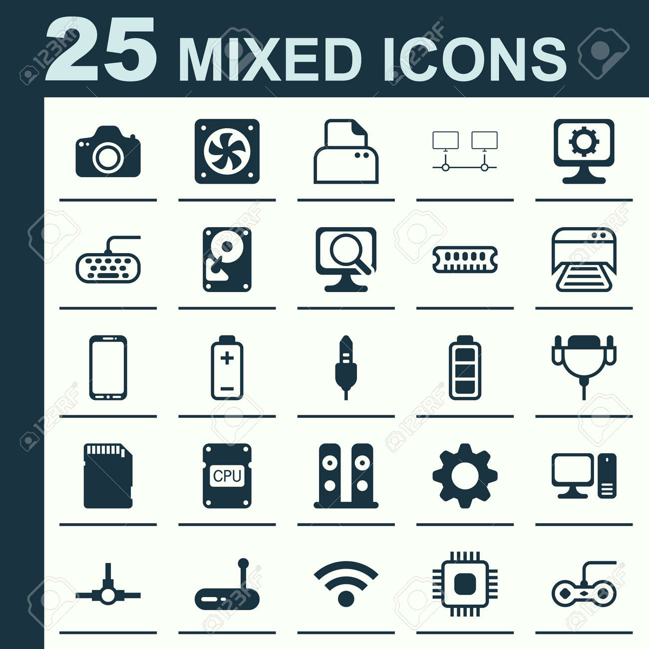 Computer icons set collection of aux cord connected devices computer icons set collection of aux cord connected devices settings and other elements biocorpaavc