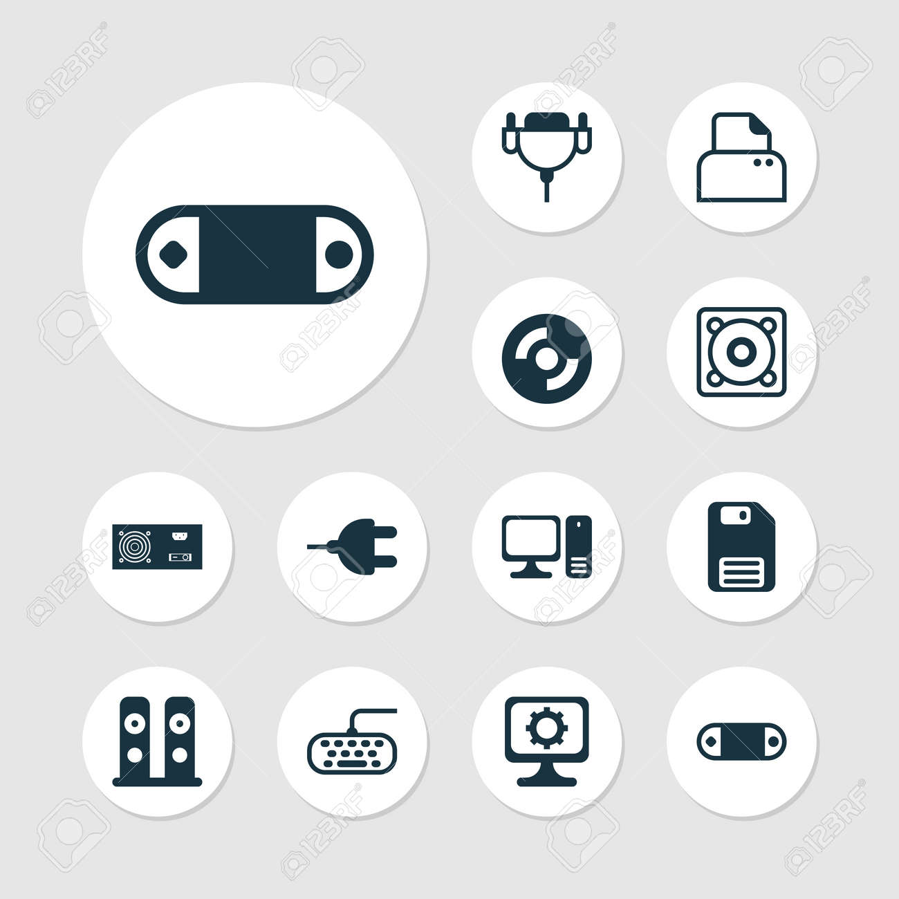 Computer Icons Set  Collection Of File Scanner, Power Generator,