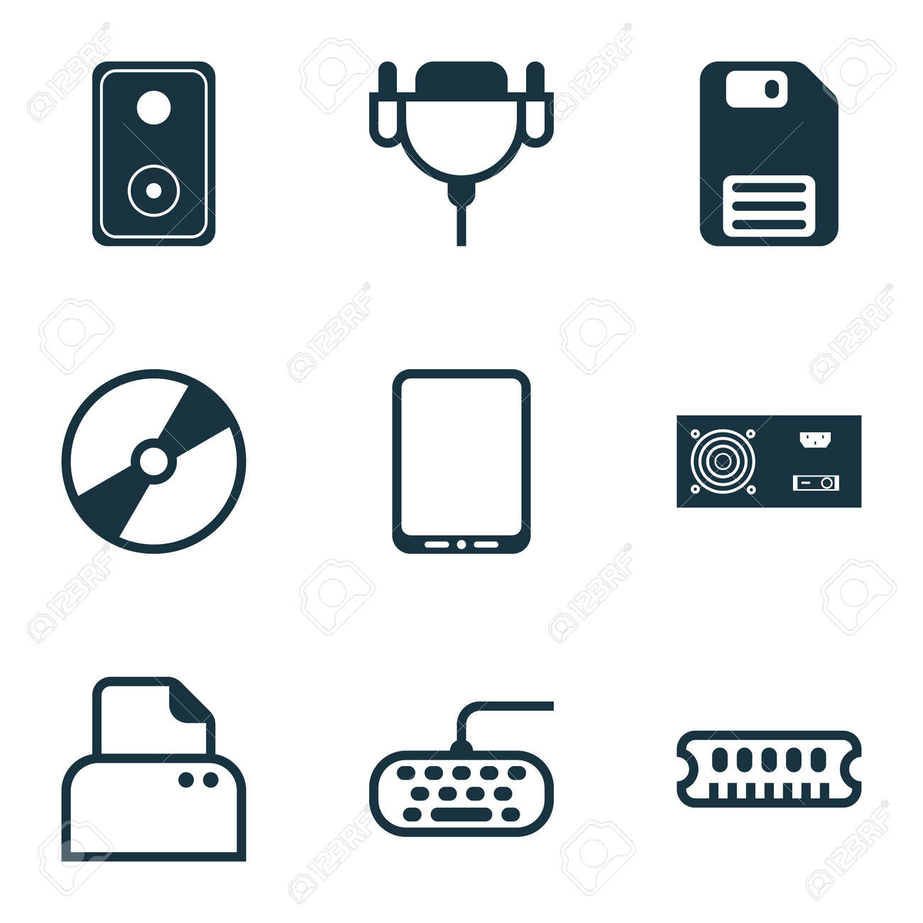 Computer Icons Set. Collection Of Power Generator, Cellphone ...