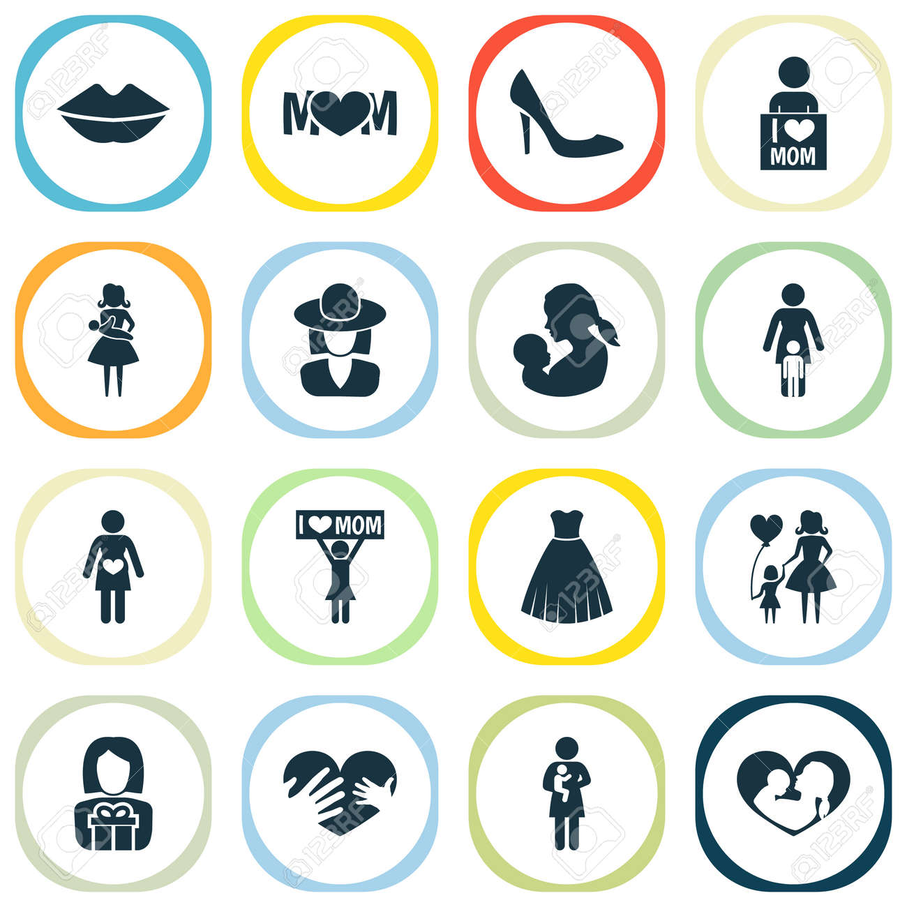 Mothers Day Icon Design Concept Set Of 16 Such Elements As Mother