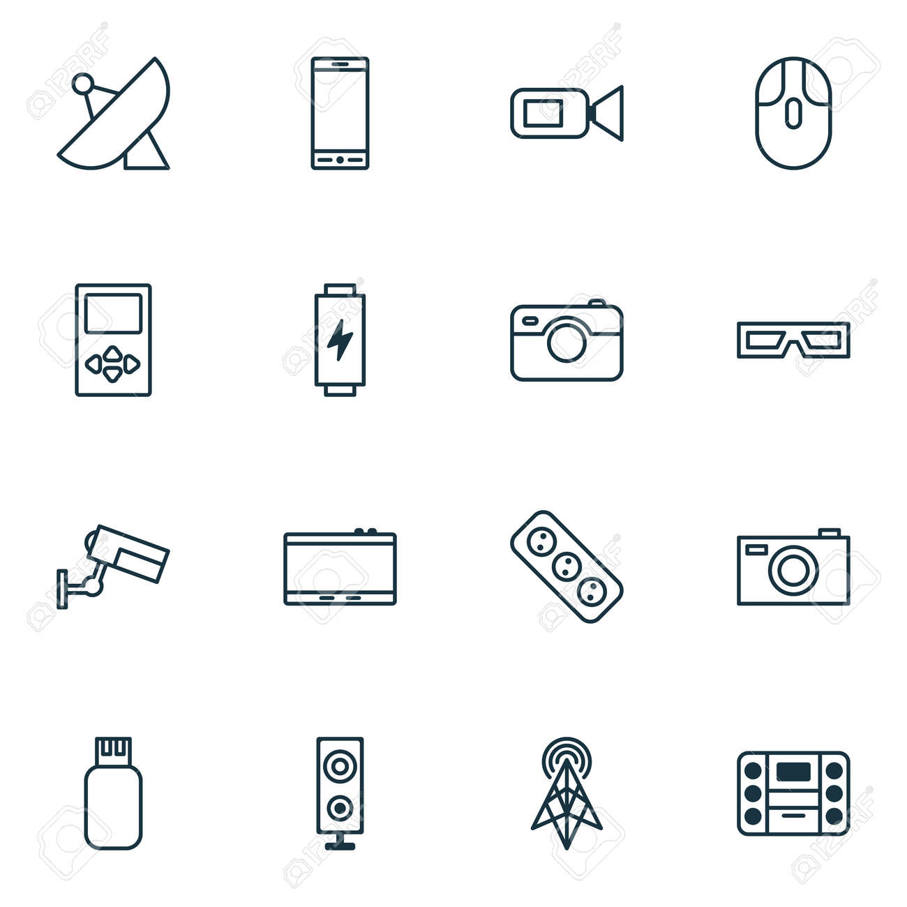 Hardware icons set with tablet cursor mouse photo apparatus hardware icons set with tablet cursor mouse photo apparatus and other wireless router elements keyboard keysfo Image collections