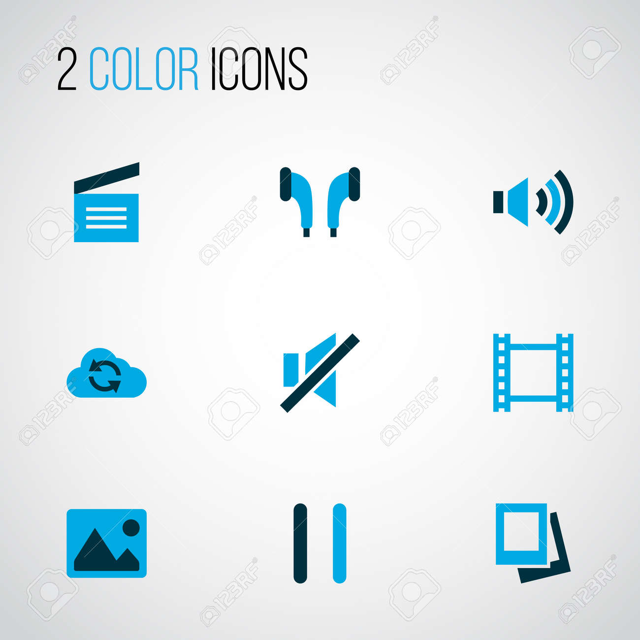 Multimedia Icons Colored Set With Pause Movie Clap Volume Up