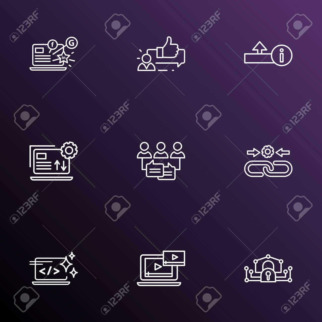 Search icons line style set with upload, audience engagement,