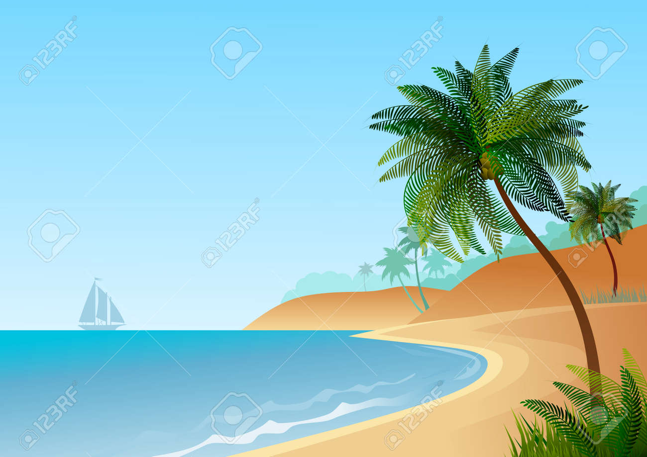 Wallpaper With Maritime Landscape With Beach And Palm Trees Vector Illustration