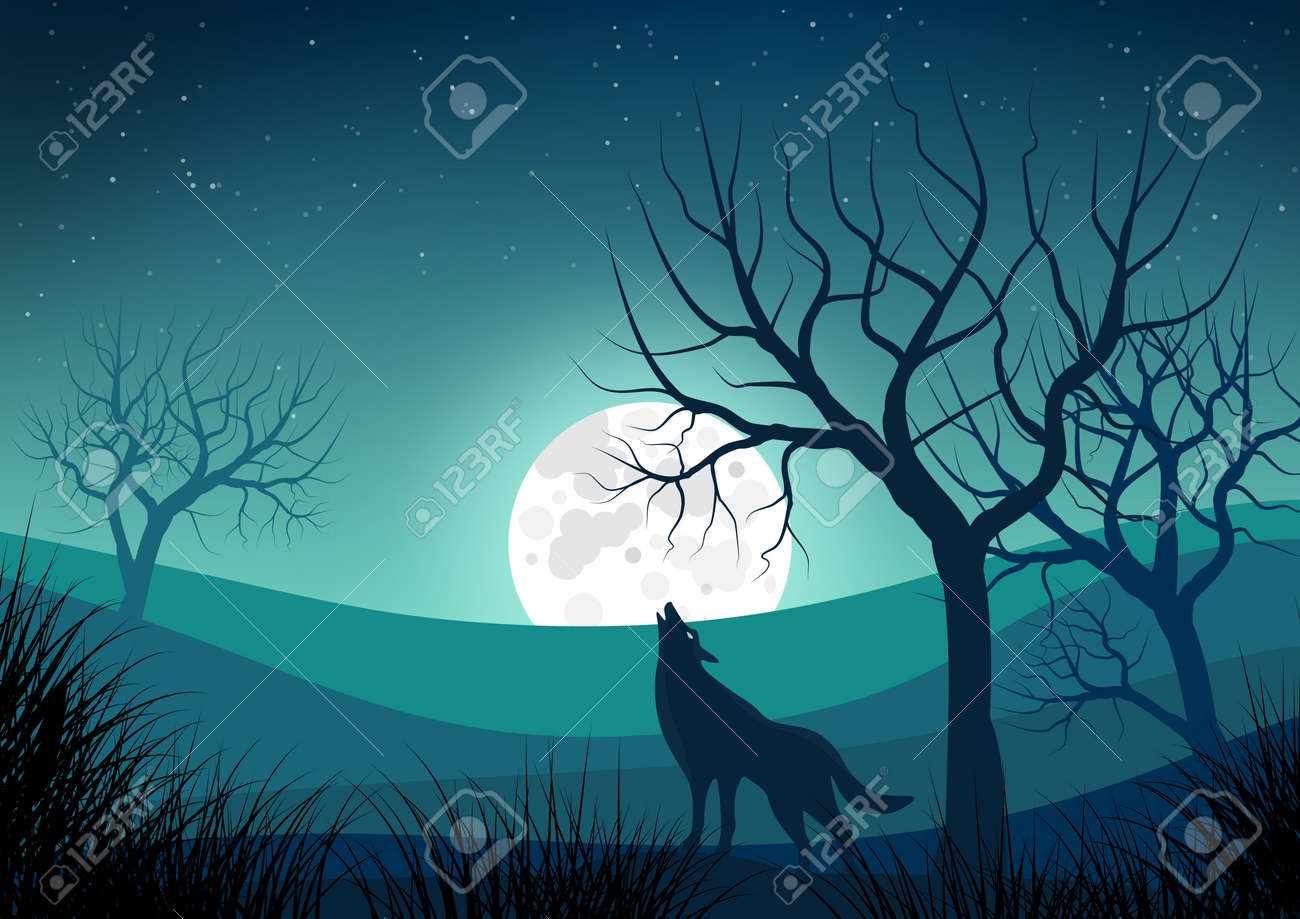 Illustration With Night Landscape With Silhouettes Of Naked Trees