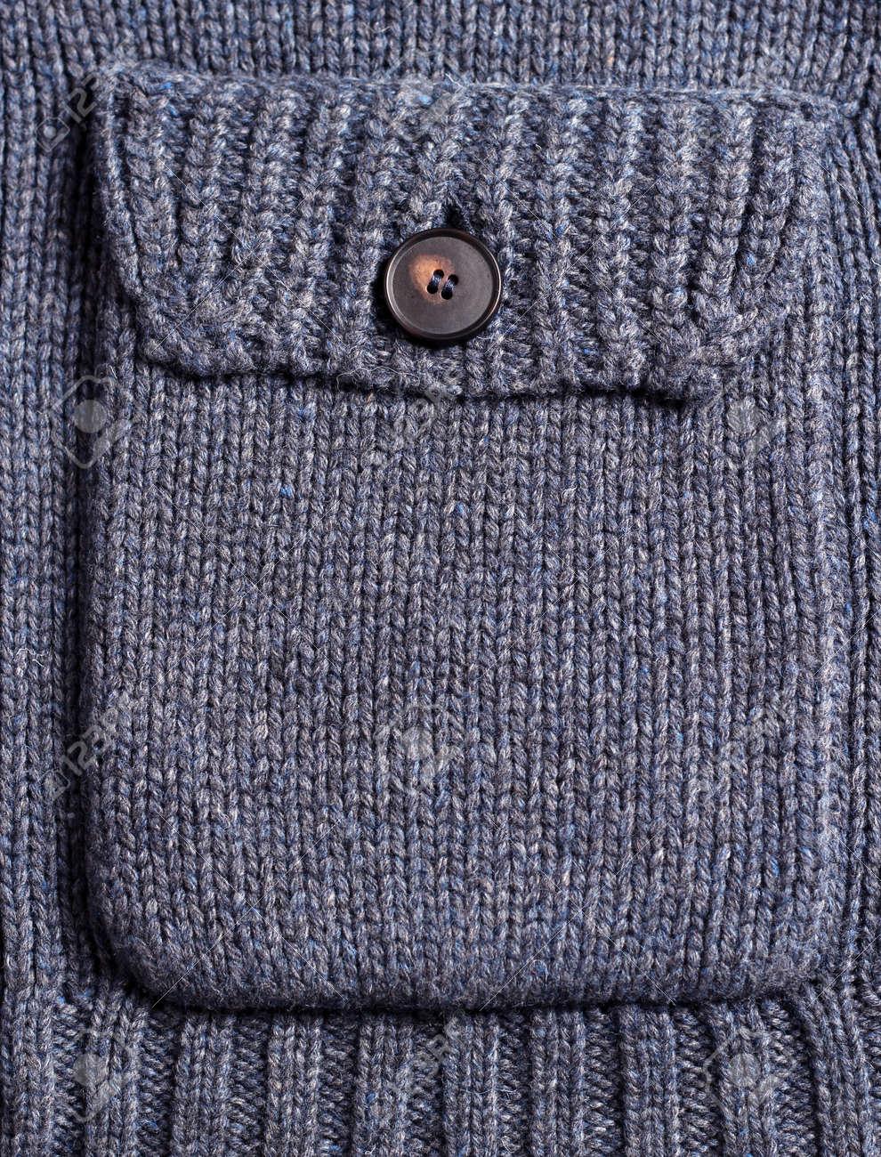 Azul Oscuro Bolsillo De Lana Tejido De Punto Con Botón Para El ...