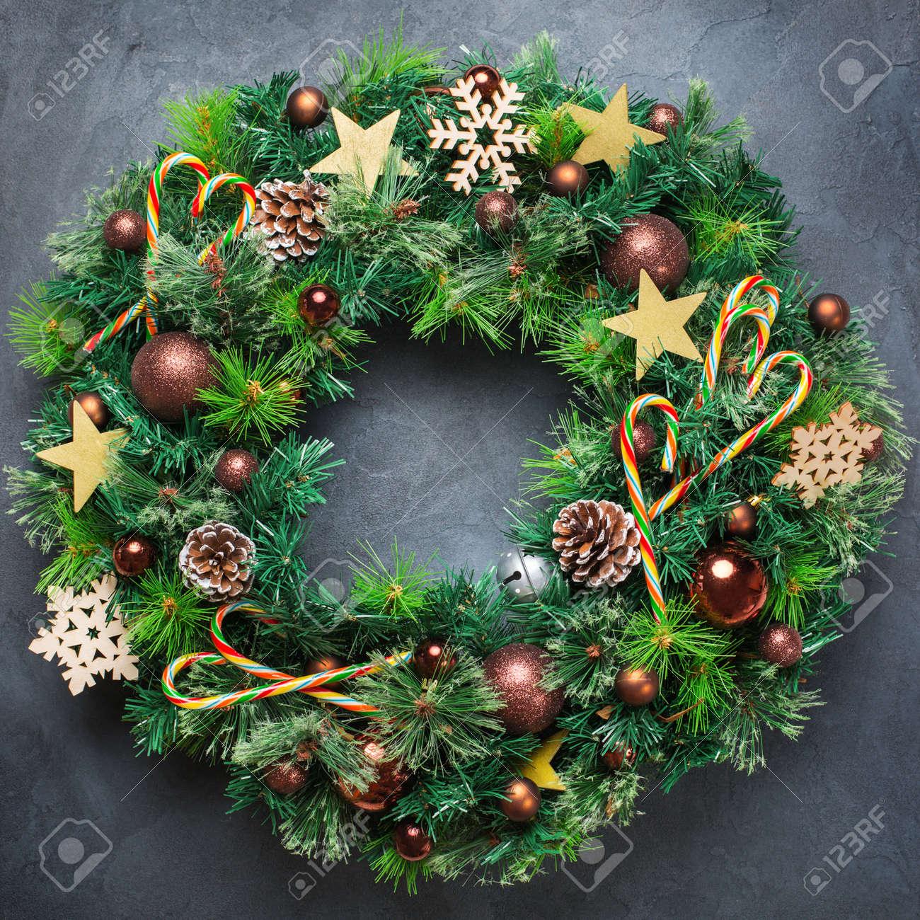 Couronne De Porte Noel Design holidays new year concept. advent christmas door wreath with..