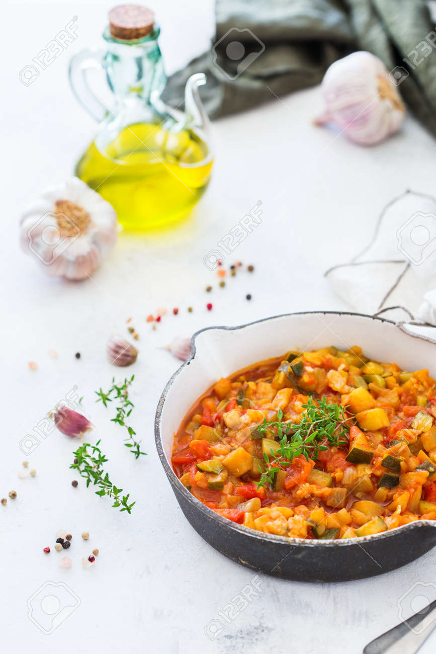 Healthy Homemade Vegan Food Concept. Stew Organic Vegetables.. Stock ...