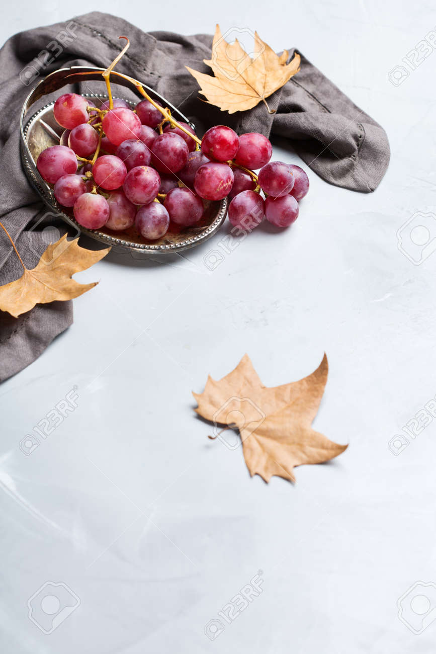 Autumn Fall Harvest Concept. Ripe Juicy Red Grapes On A Cozy.. Stock ...
