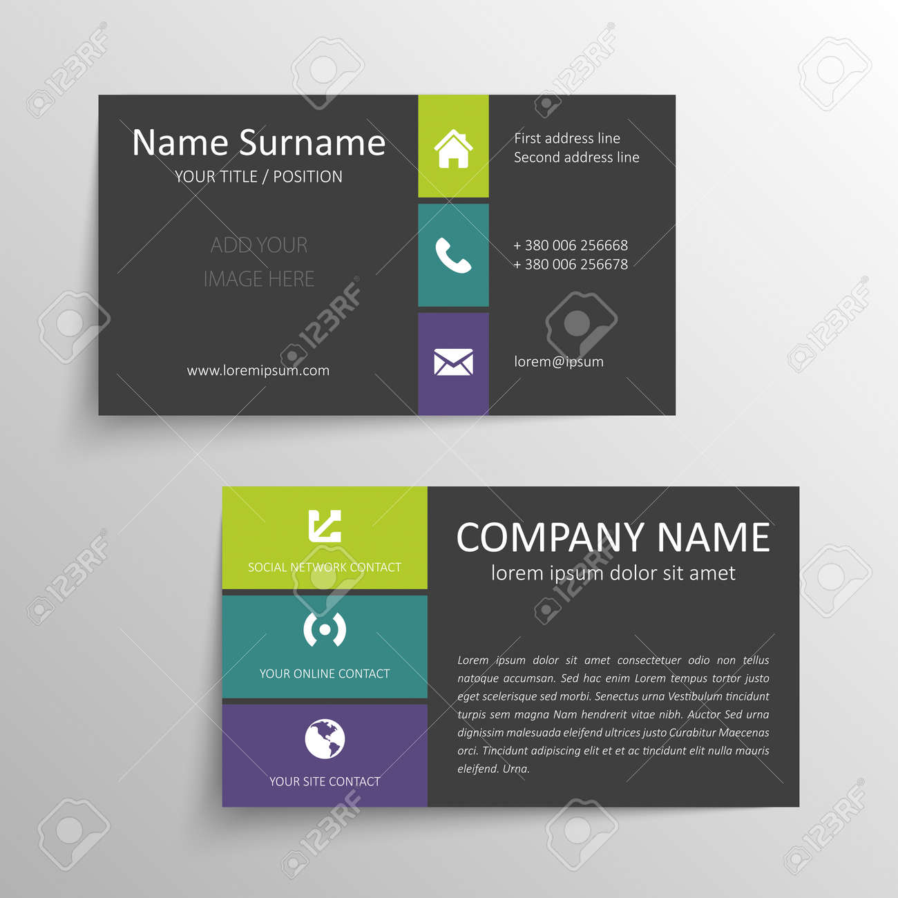 Modern Simple Business Card Template. Royalty Free Cliparts, Vectors ...