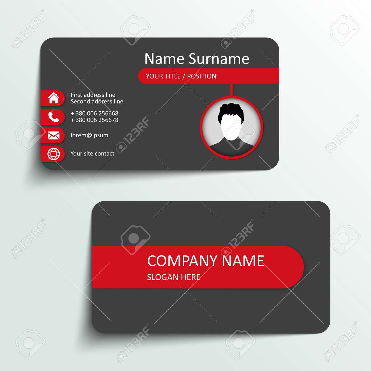 Modern Simple Business Card Vector Template. Royalty Free Cliparts ...