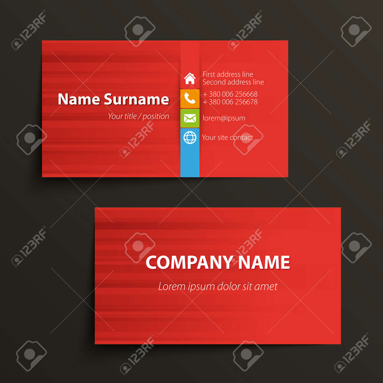 Modern Simple Business Card Template Vector Format Stock
