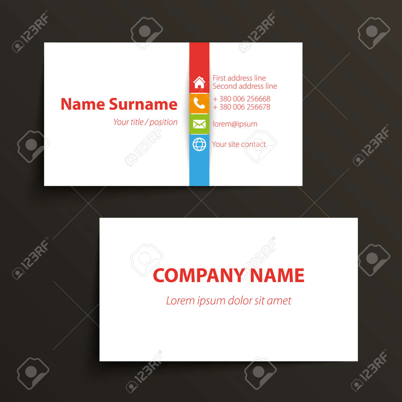 Modern simple business card template vector format royalty free modern simple business card template vector format stock vector 31276557 reheart Images