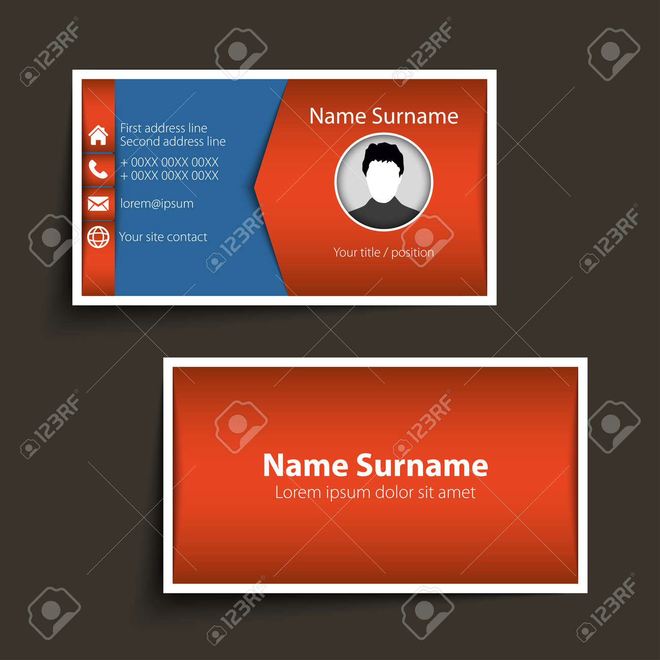 modern simple business card template royalty free cliparts vectors