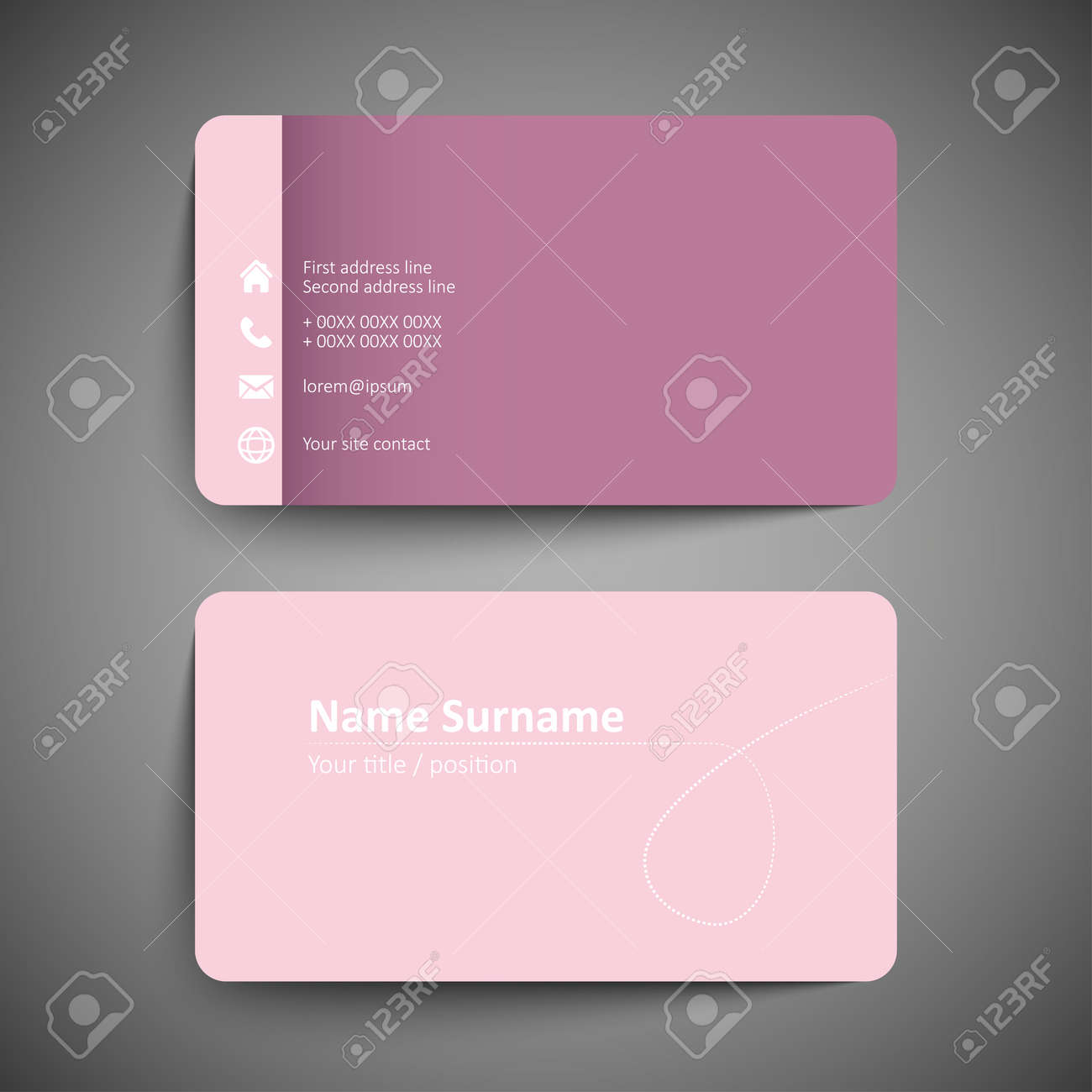 Pink business card set template or visiting card vector pink business card set template or visiting card vector illustration stock vector flashek Gallery