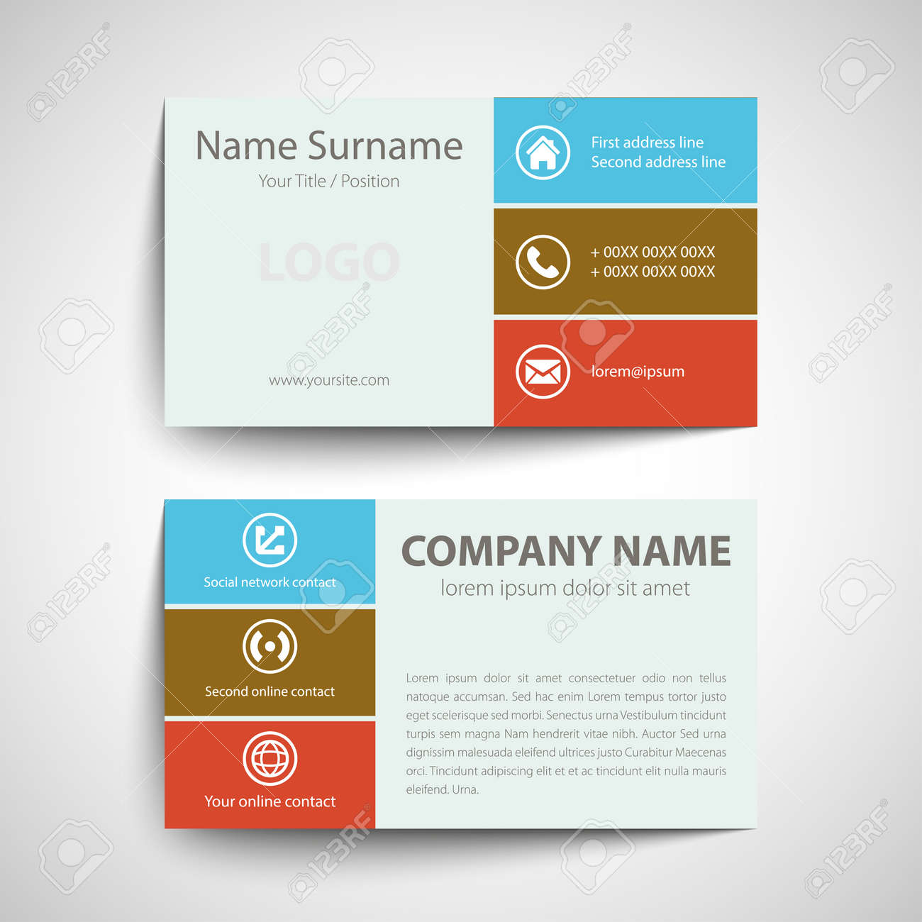 modern simple business card template vector format royalty free