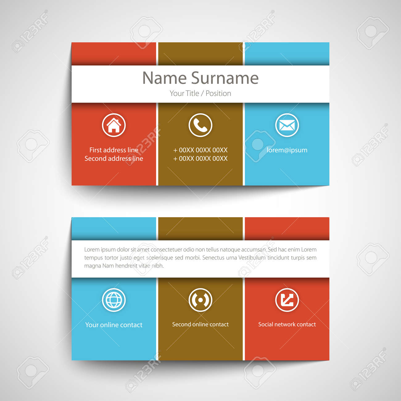 Modern Simple Business Card Set, Template Or Visiting Card. Vector ...