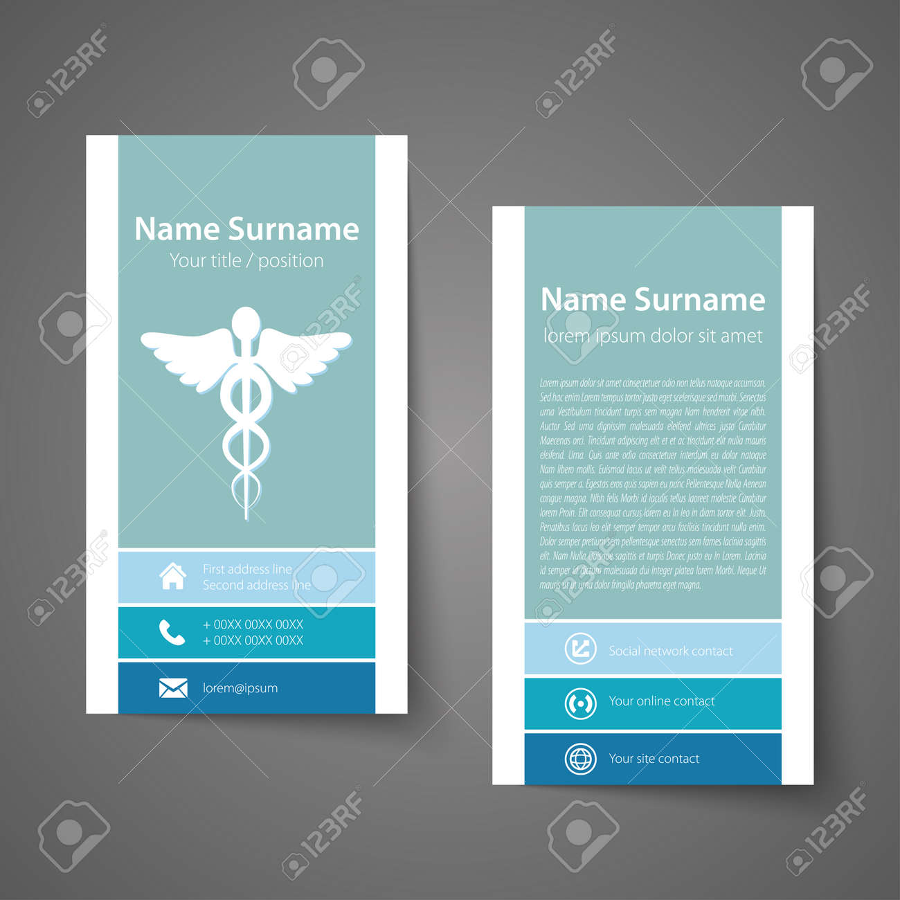 Modern Simple Business Card Template For Physicians Vector Format Stock