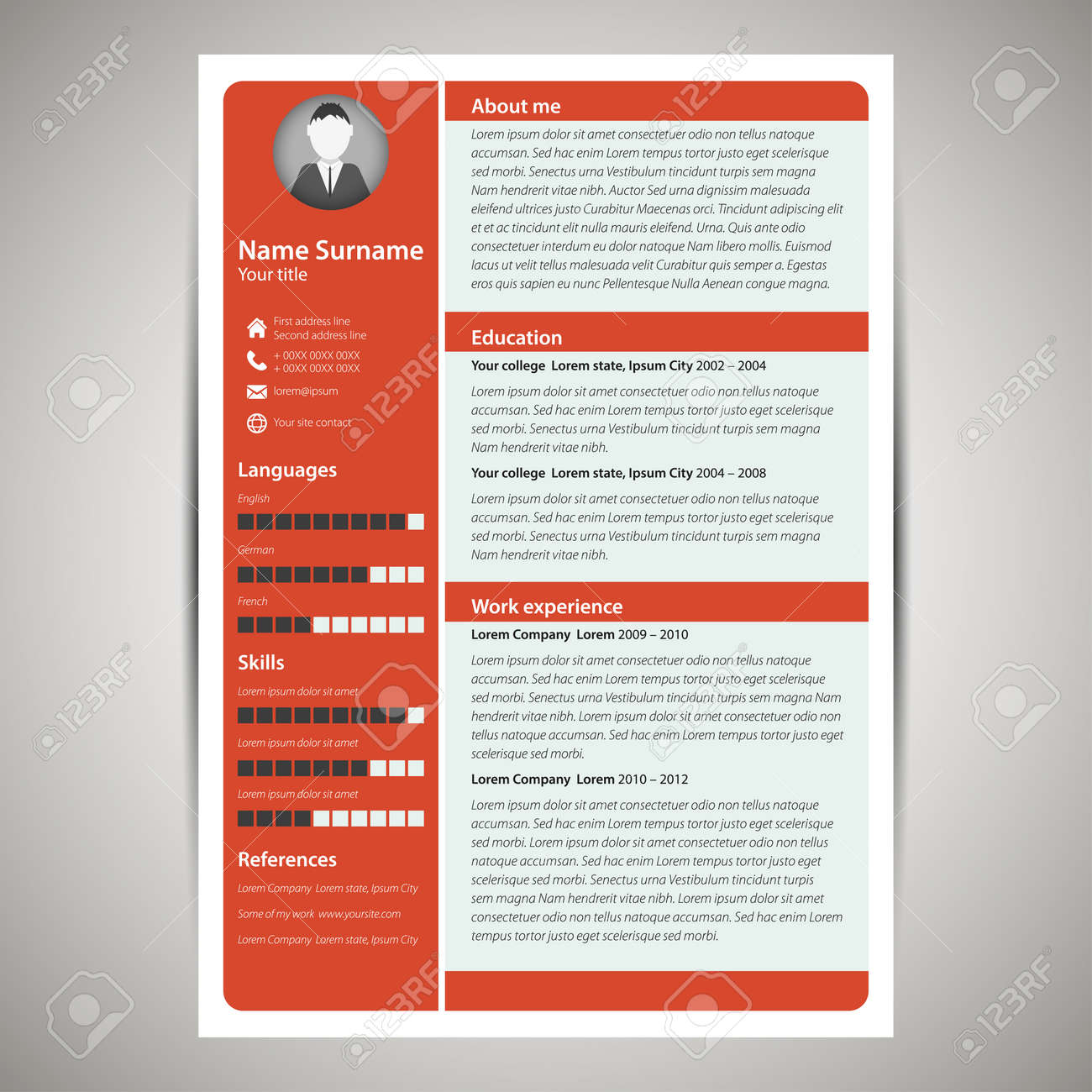 red flat resume and cv template vector illustration royalty free