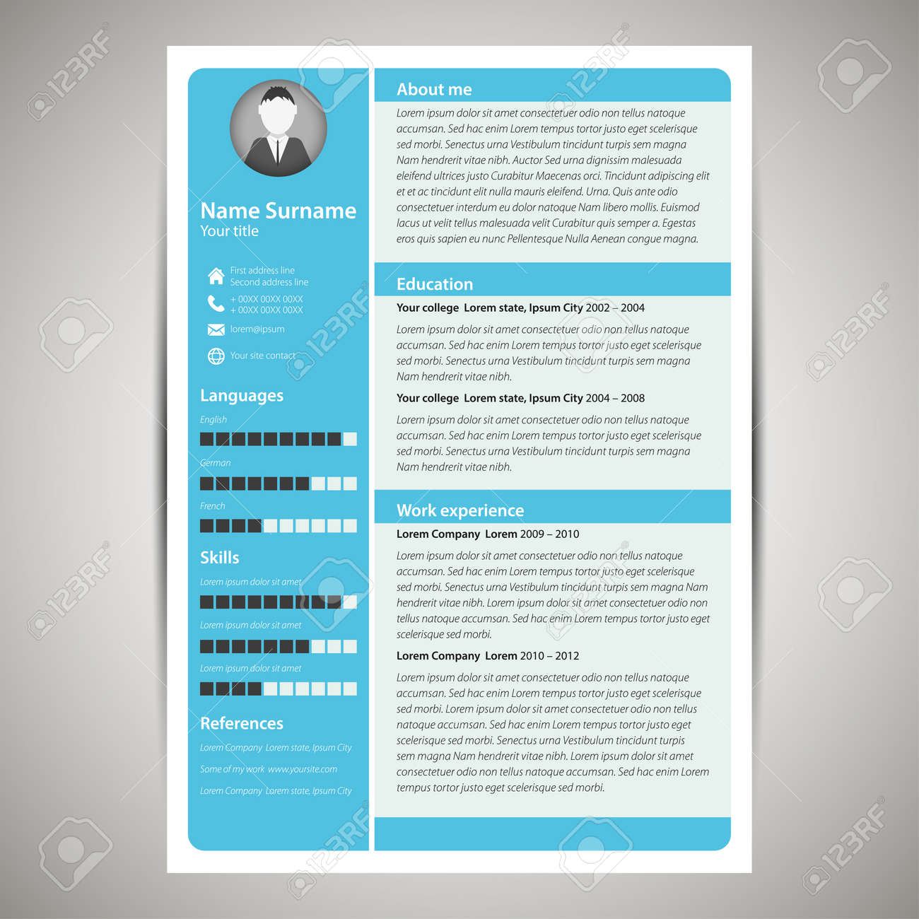 blue flat resume and cv template vector illustration royalty free
