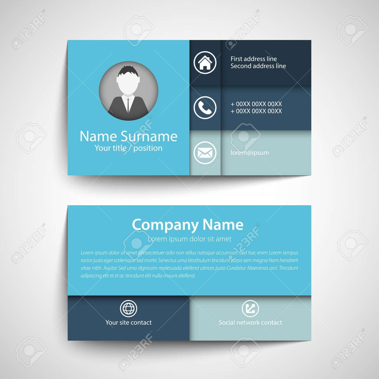 modern simple business card set template or ing card vector modern simple business card set template or ing card vector illustration stock vector