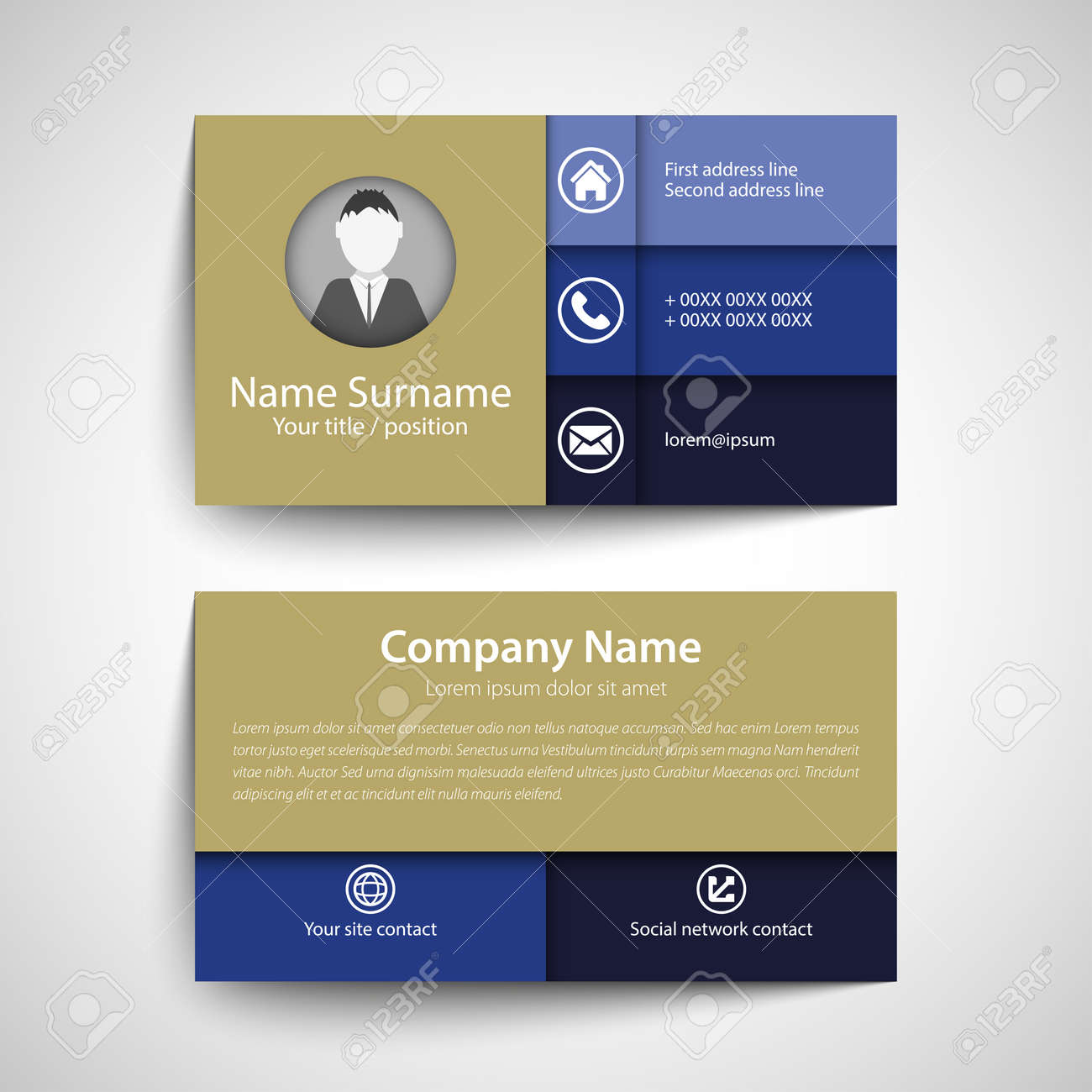 Modern simple business card set template or visiting card vector modern simple business card set template or visiting card vector illustration stock vector reheart Gallery