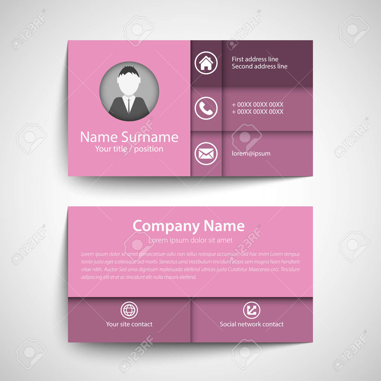 Modern simple business card set template or visiting card vector modern simple business card set template or visiting card vector illustration stock vector reheart Image collections