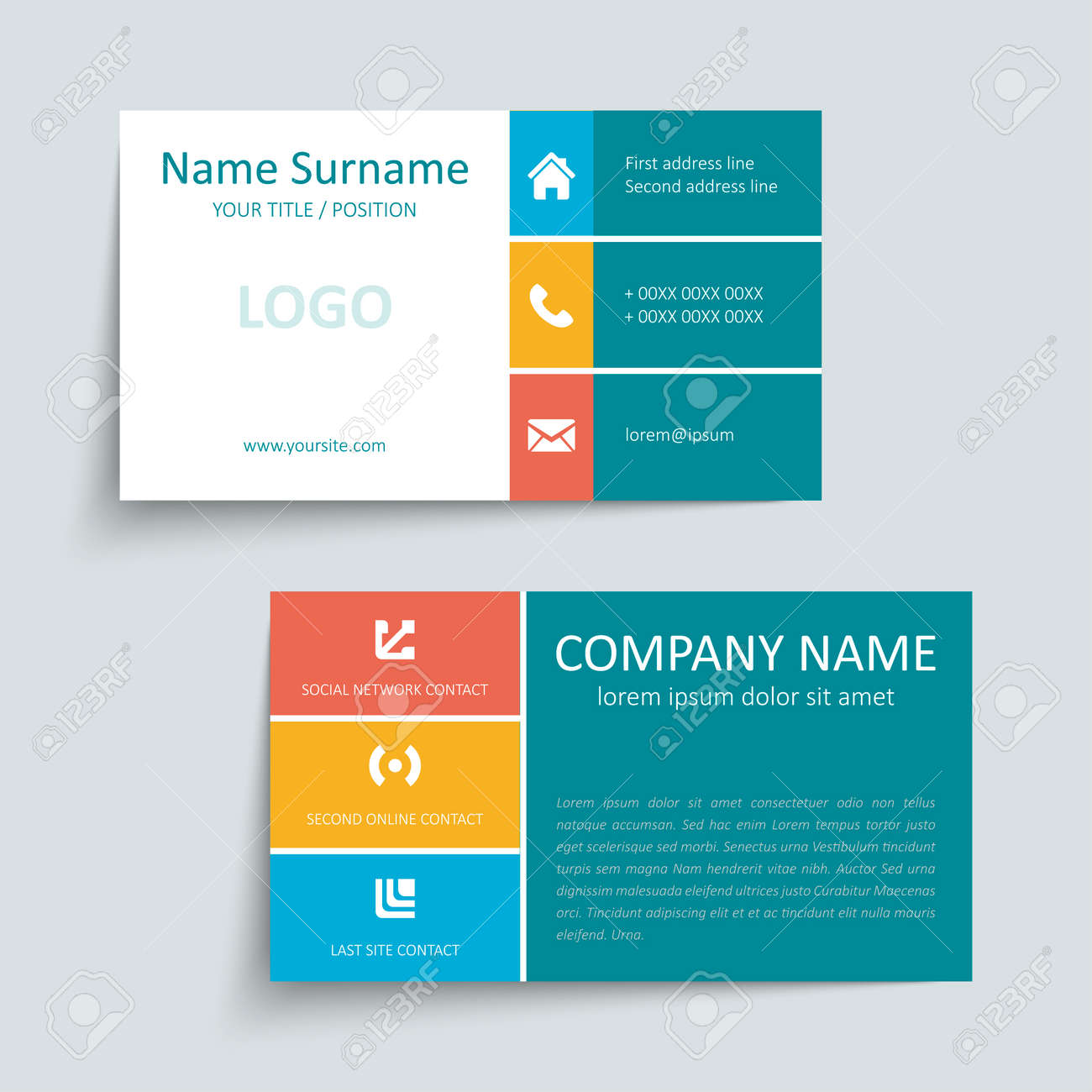 Modern Simple Business Card Set Template Or Visiting Card Vector – Visiting Card