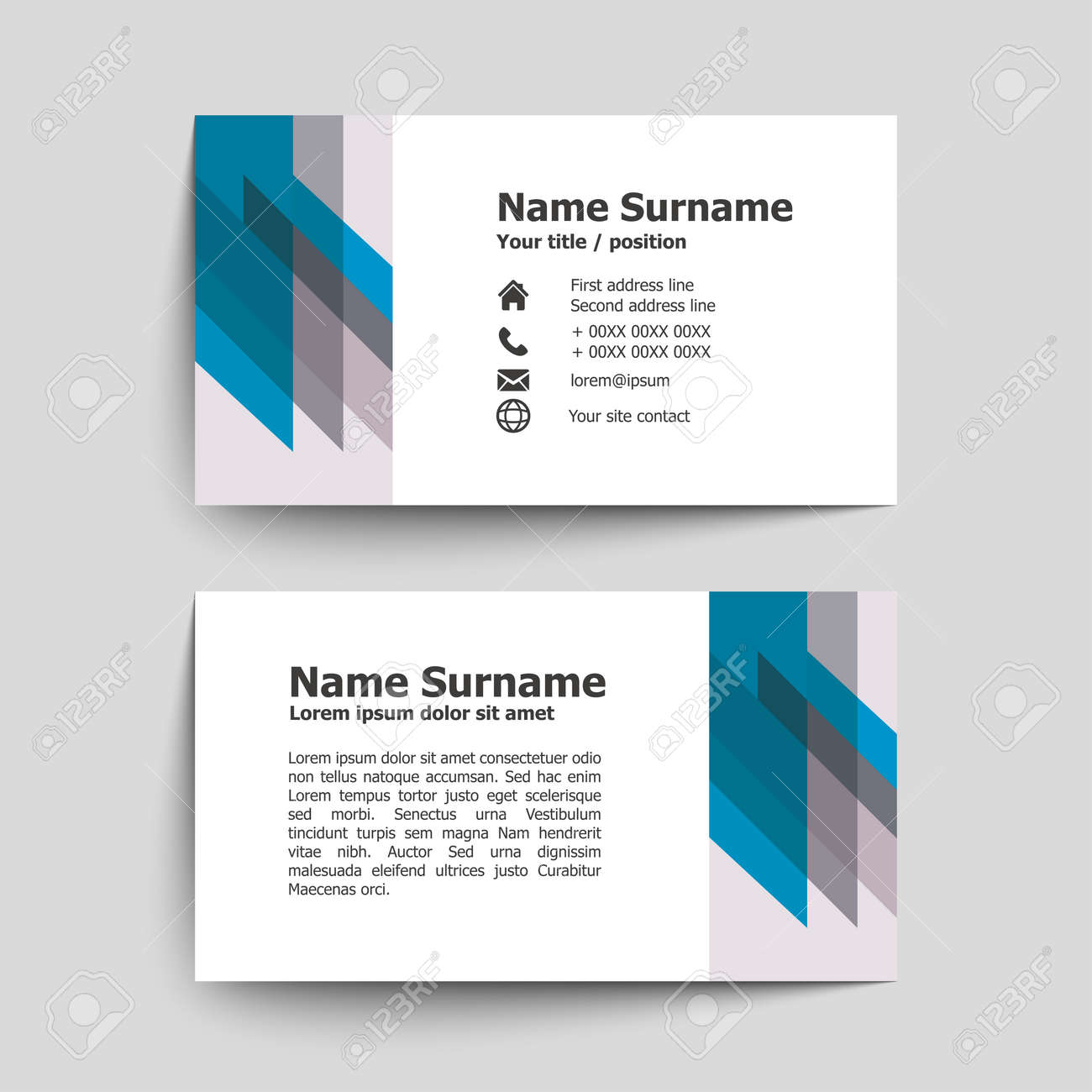 Modern Simple Business Card Set Template Or Visiting Vector Illustration Stock