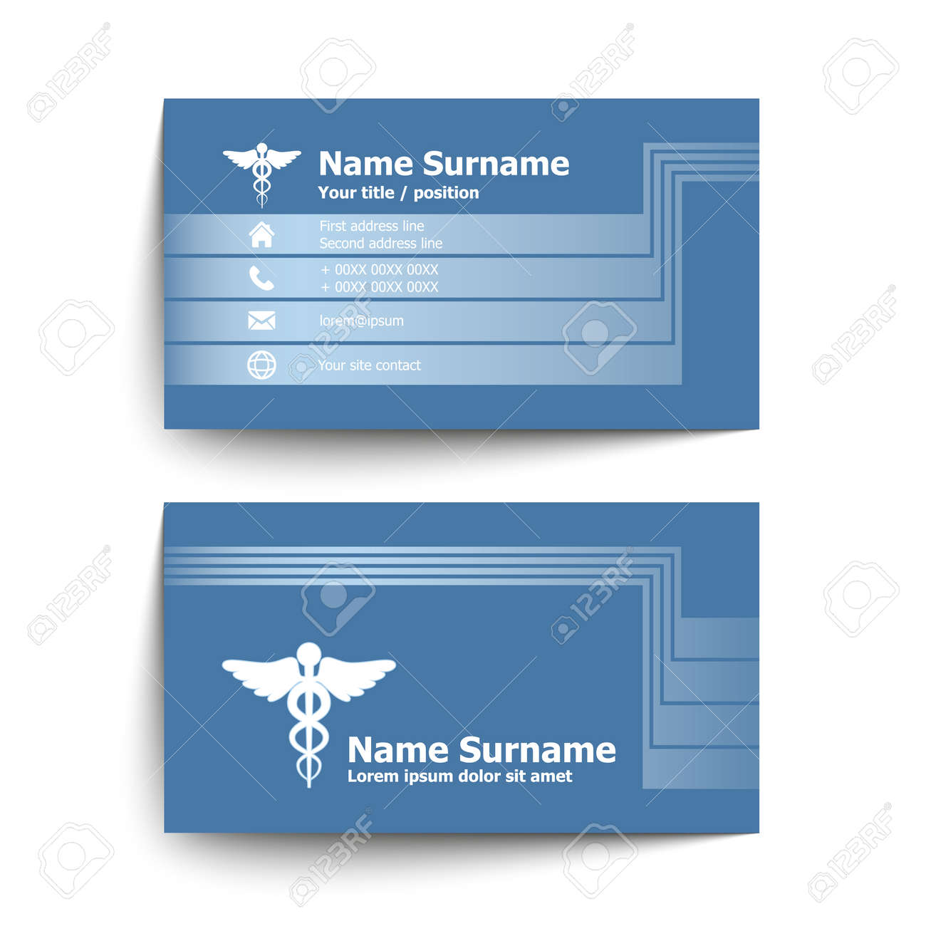 Modern simple business card set for doctor of medicine vector modern simple business card set for doctor of medicine vector illustration stock vector colourmoves