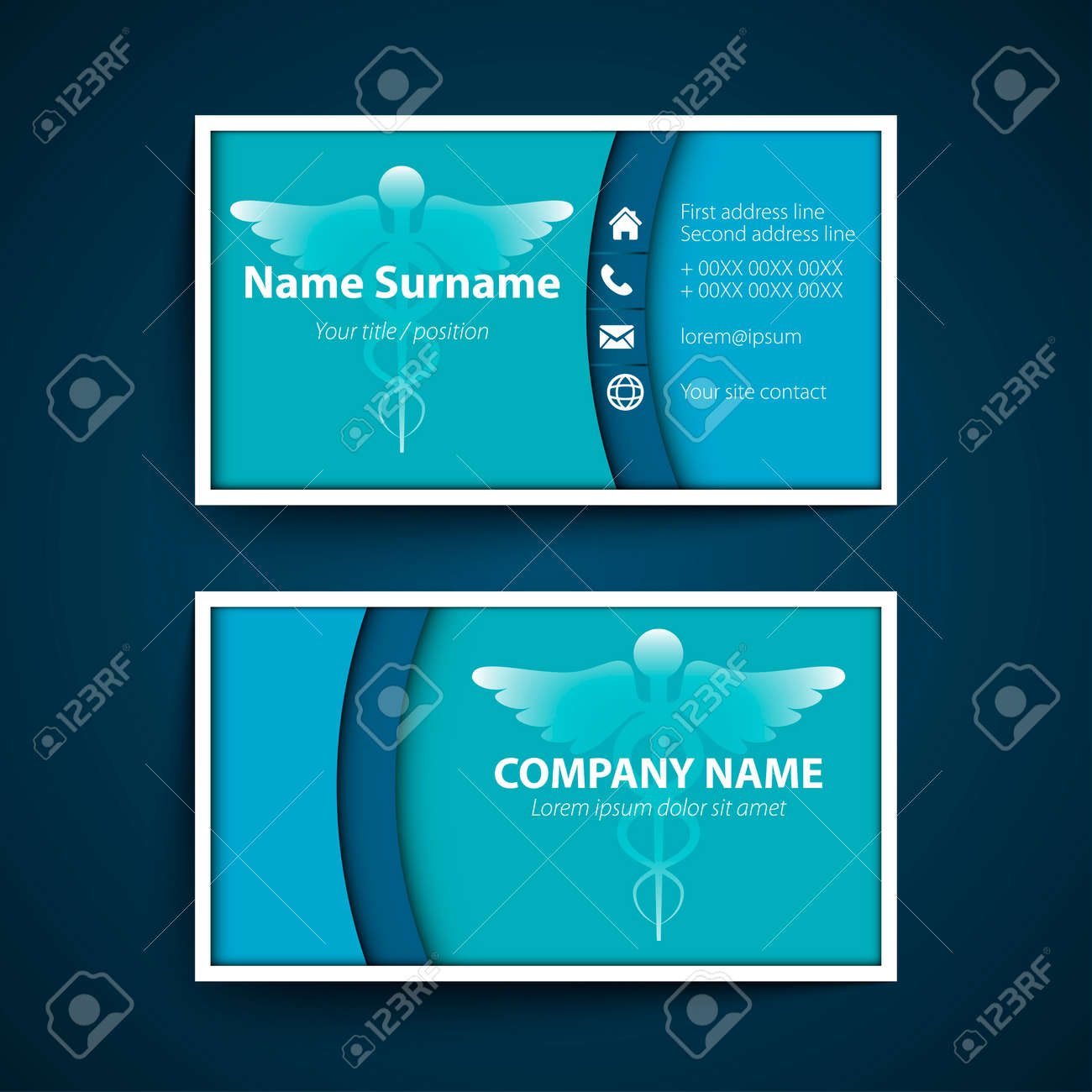 Modern simple business card set for physician. Vector illustration. - 52398660