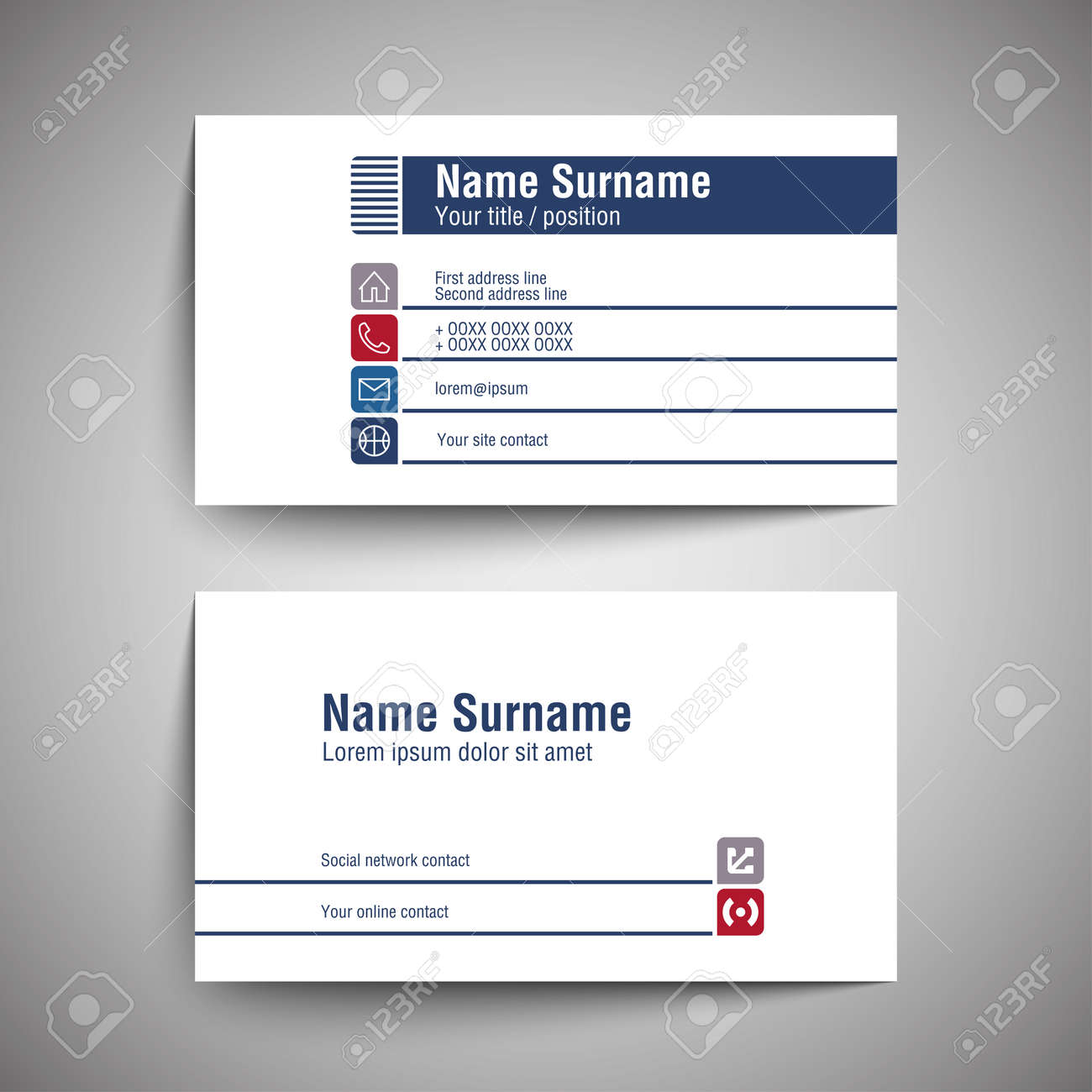 Modern simple business card set template or visiting card vector imagens modern simple business card set template or visiting card vector illustration reheart Gallery