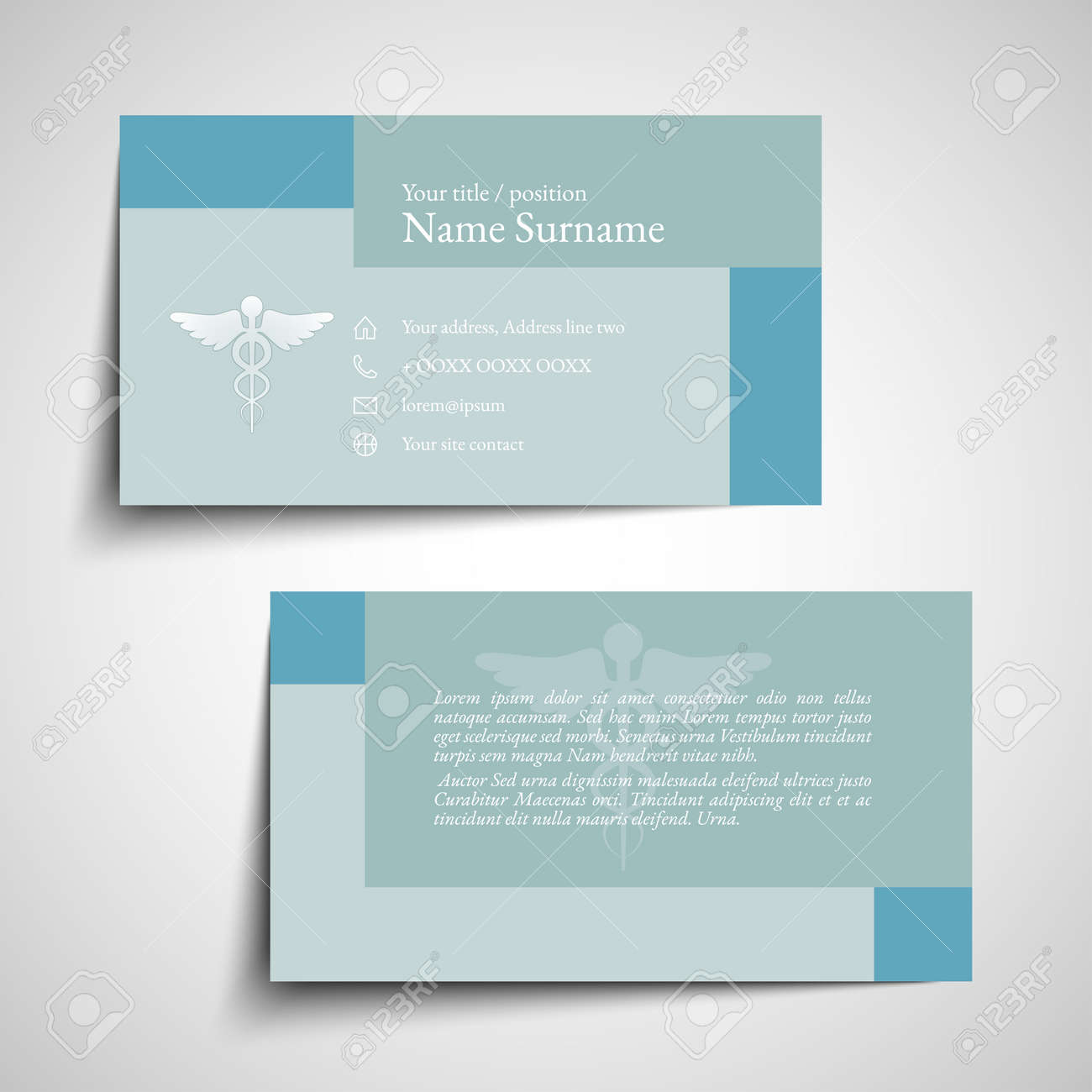 Set Of Simple Medical Business Card Design Illustration. Royalty ...