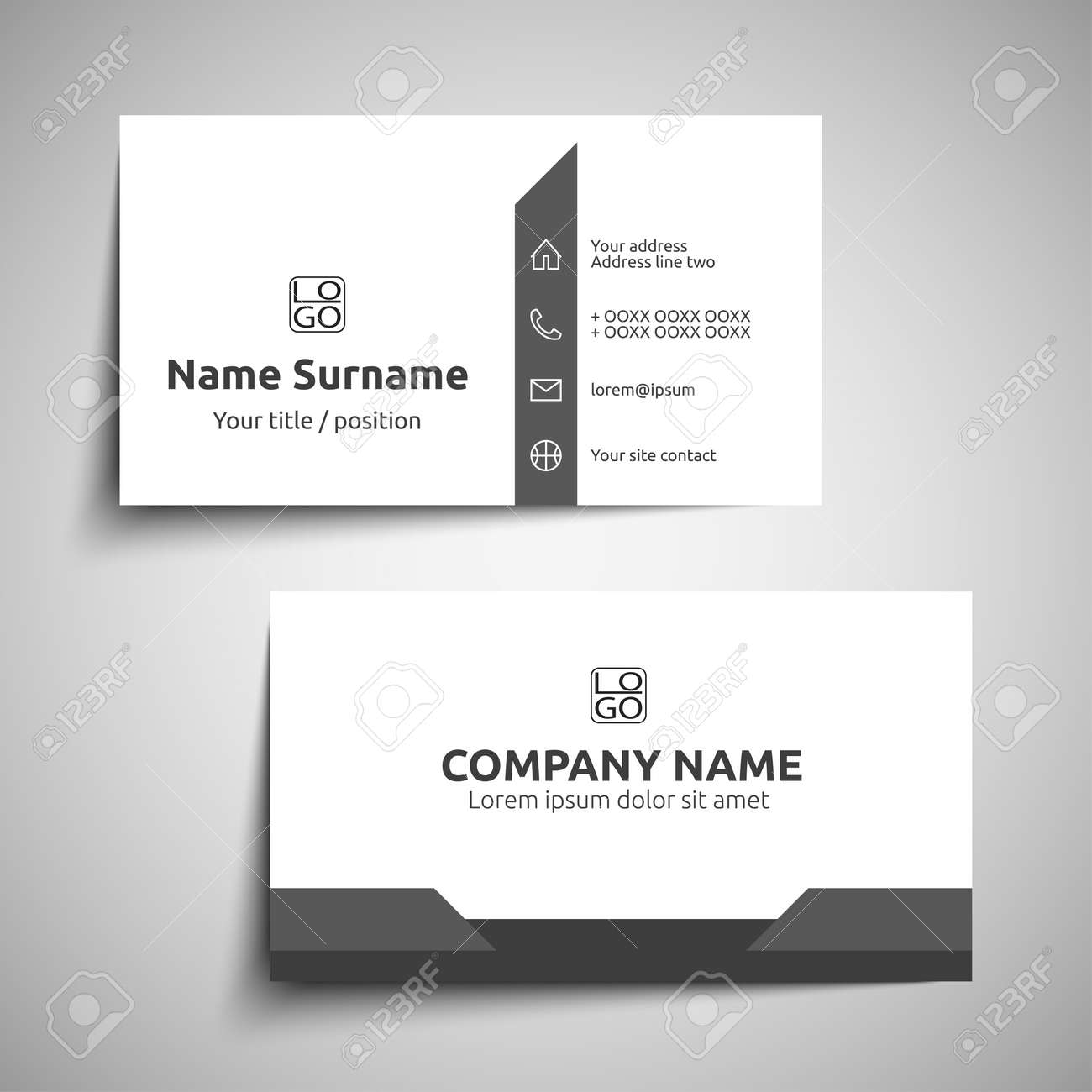 Modern simple business card set, template or visiting card. Vector..